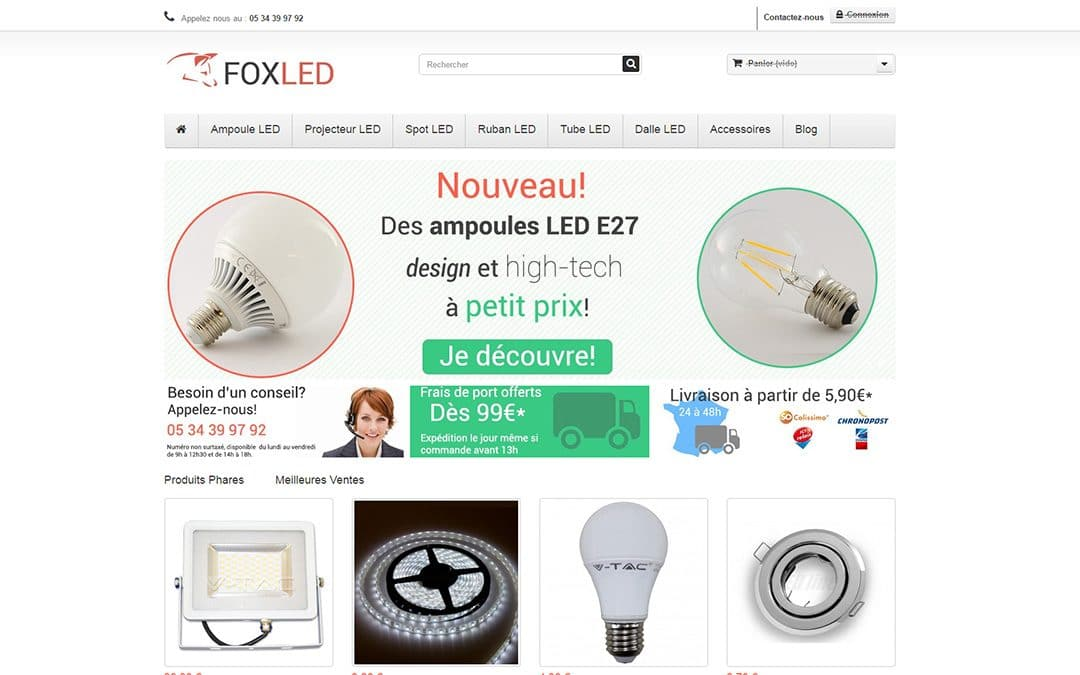 Création du site e-commerce Foxled.fr
