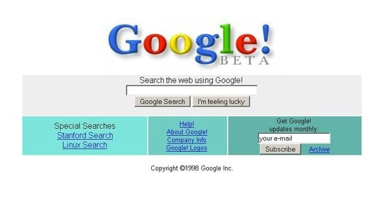 Interface de Google en 1998
