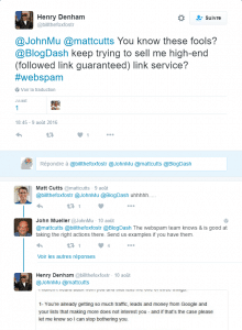 Echanges de tweets signant la fin de Blogdash